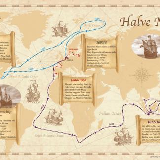 Kaart met Halve Maen vaarroutes 1605-1618 // 50 x 70 cm